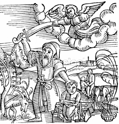 Myth of Abraham stopped by an angel from slaying his son. (Credit: Wikipedia)